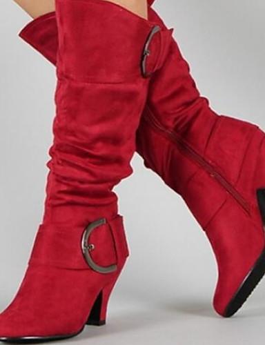 preiswerte Damen Stiefel-Damen Stiefel Blockabsatz Runde Zehe Wildleder Mittelhohe Stiefel Herbst Winter Schwarz / Purpur / Rot