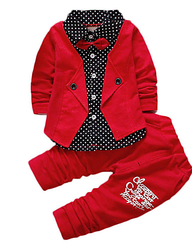 cheap Boys' Clothing-Kids Toddler Boys' Active Basic School Festival Blue & White Black & Red Black & White Polka Dot Color Block Bow Patchwork Print Long Sleeve Regular Regular Clothing Set Red