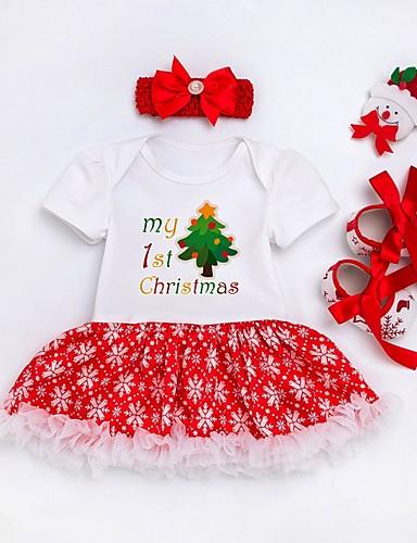 preiswerte Kindermode-Baby Mädchen Aktiv Druck / Weihnachten Langarm Kleid Weiß
