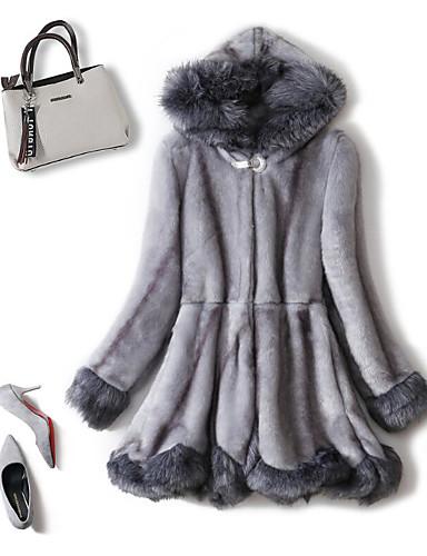 preiswerte Modische Kleidung-Damen Alltag Grundlegend Winter Standard Kunstpelz-Mantel, Solide Mit Kapuze Langarm Kunstseide Schwarz / Hellgrau