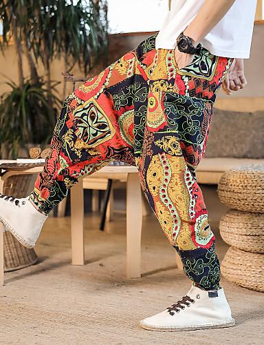 povoljno Vježbanje, fitness i joga-Muškarci Hlače za jogu Harem hlače 3D ispis Crn Svjetloplav purpurna boja žuta Burgundac Plesne Fitness Trening u teretani ženske sportske hlače Sport Odjeća za rekreaciju Prozračnost Quick dry Puha