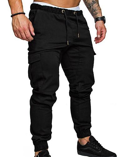 abordables Chino-Homme Basique Chino Pantalon Couleur Pleine Noir Vert Véronèse Kaki US36 / UK36 / EU44 US38 / UK38 / EU46 US40 / UK40 / EU48