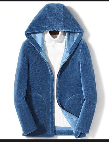 levne Pánská saka a kabáty-Pánské Denní Zima Standardní Bunda, Jednobarevné Kapuce Dlouhý rukáv Polyester Černá / Bílá / Vodní modrá