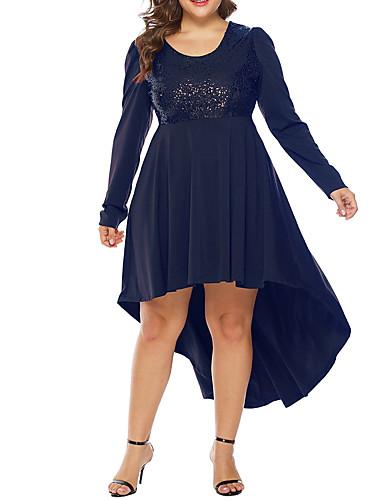 preiswerte Übergrössen-Damen-Damen Grundlegend Hülle Kleid Solide Asymmetrisch