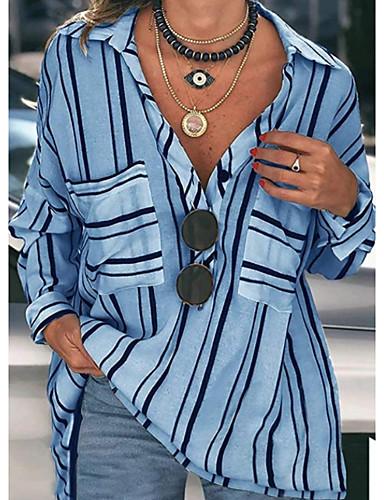 billige Dametopper-Skjorte Dame - Stripet Grunnleggende Blå