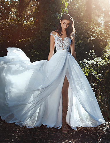 cheap Wedding Dresses-A-Line V Neck Court Train Chiffon / Lace Cap Sleeve Country / Romantic / Sexy See-Through / Backless Wedding Dresses with Lace / Sashes / Ribbons 2020