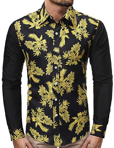 levne Pánské košile-Pánské - Barevné bloky Business / Základní Košile, Tisk Duhová