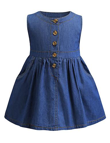 Gyerekek Lány aranyos stílus Kék Egyszínű Fodrozott Ujjatlan Térd feletti Ruha Medence