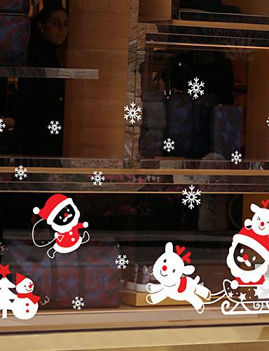 preiswerte Weihnachtswandaufkleber-Fenster Film & Aufkleber Dekoration Tier / Weihnachten Geometrisch / Urlaub / Zeichen PVC Fenster-Aufkleber / Komisch