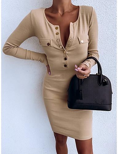 levne Pracovní šaty-Dámské Základní Pouzdro Šaty - Jednobarevné Délka ke kolenům
