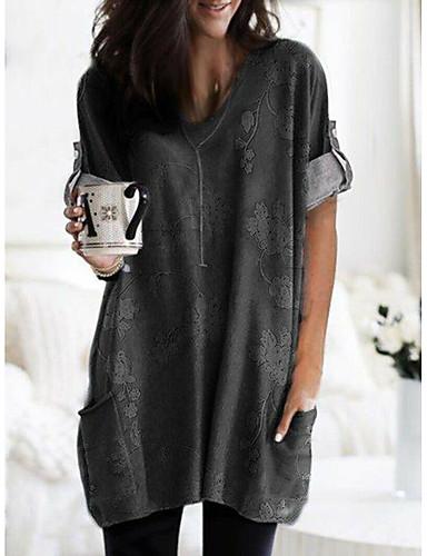 billige Skjorter til damer-tunika Dame - Geometrisk Grunnleggende Svart