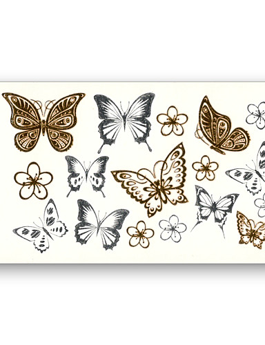 cheap Tattoos & Body Art-10 pcs Flower Butterfly Fake tattoo pattern Metallic Gold Sliver Waterproof Temporary Stickers Water Transfer Sexy Beauty Body Art