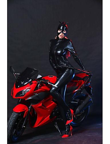 billige Sexy Uniformer-Dame Dyremønster Kjønn Zentai Drakter Cosplay Kostumer Party-kostyme Ensfarget Frakk Maske / Catsuit / Catsuit