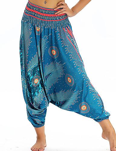 povoljno Odjeća za fitness, trčanje i jogu-Žene Hlače za jogu Harem hlače 3D ispis Svjetloplav Dark Blue Plesne Fitness Trening u teretani ženske sportske hlače Sport Odjeća za rekreaciju Prozračnost Quick dry Puha Širok kroj / Zima