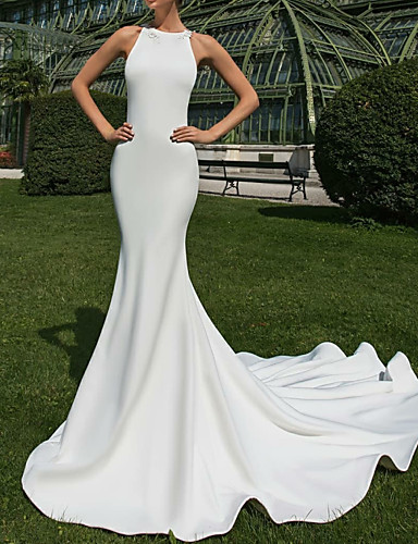 cheap Wedding Dresses-Mermaid / Trumpet Jewel Neck Court Train Satin Regular Straps Country / Sexy Illusion Detail / Backless Wedding Dresses with Appliques 2020