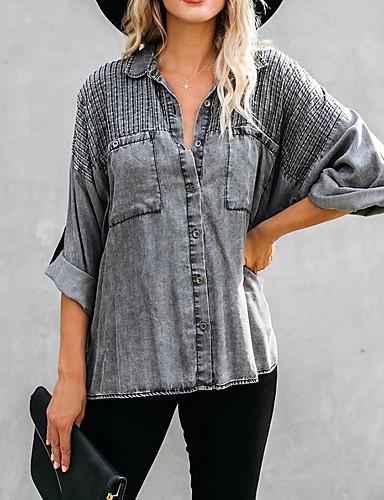 billige Skjorter til damer-Bomull Løstsittende Skjortekrage Skjorte Dame - Ensfarget, Flettet Gatemote Svart Mørkegrå