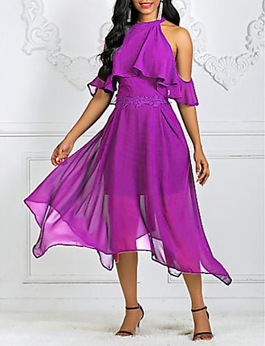 levne Maxi šaty-Dámské Swing Šaty - Jednobarevné Asymetrické Lodičkový