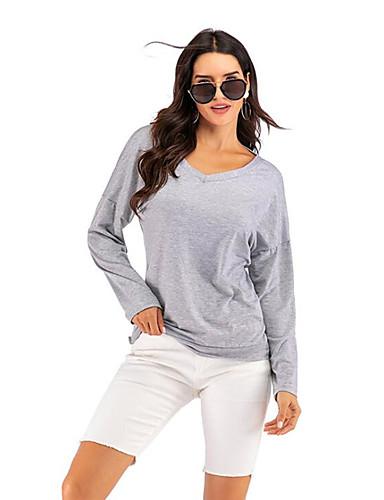 billige T-skjorter til damer-T-skjorte Dame - Ensfarget, Åpen rygg / Utskjæring Grunnleggende Grå