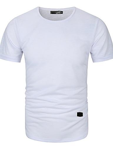 voordelige Heren T-shirts & tanktops-Heren Standaard T-shirt Effen Zwart