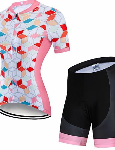 povoljno Odjeća za vožnju biciklom-CAWANFLY Žene Kratkih rukava Biciklistička majica s kratkim hlačama Mint zelena Geometic Bicikl Sportska odijela Pad 3D Quick dry Zima Sportski Spandex Likra Geometic Brdski biciklizam biciklom na