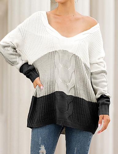 Női Színes Hosszú ujj Kardigán Pulóver jumper, V-alakú Ősz / Tél Fehér / Arcpír rózsaszín / Medence S / M / L
