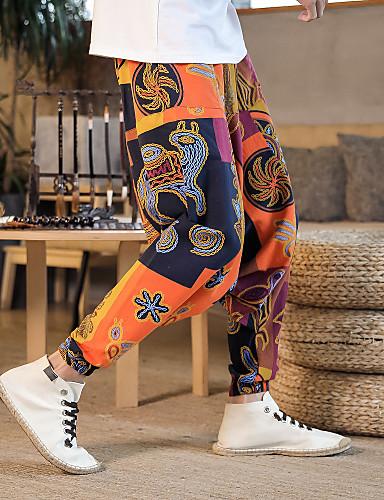 povoljno Odjeća za fitness, trčanje i jogu-Muškarci Hlače za jogu Harem hlače 3D ispis Crn Svjetloplav purpurna boja žuta Burgundac Plesne Fitness Trening u teretani ženske sportske hlače Sport Odjeća za rekreaciju Prozračnost Quick dry Puha