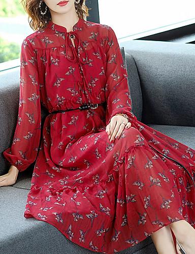 voordelige Maxi-jurken-Dames Verfijnd Elegant Chiffon Jurk - Bloemen, Ruche Veters Print Maxi