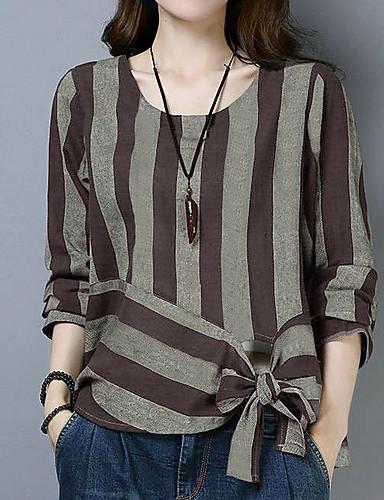 billige T-skjorter til damer-T-skjorte Dame - Stripet, Sløyfe Grunnleggende Rød