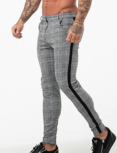 cheap Men's Pants & Shorts-Men's Basic Chinos Pants - Plaid / Checkered Black White US32 / UK32 / EU40 US34 / UK34 / EU42 US36 / UK36 / EU44