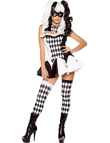 preiswerte Spielzeug & Hobby Artikel-Burleske Clown Cosplay Kostüme Damen Halloween Karneval Fest / Feiertage Polyester Damen Karneval Kostüme / Kleid / Halsketten / Socken / Augenmaske / Kleid