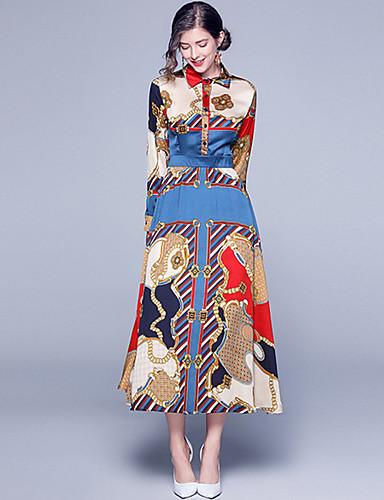 voordelige Maxi-jurken-Dames Boho A-lijn Jurk - Abstract, Print Maxi Rood