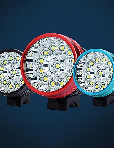 preiswerte Fahrradlichter & Reflektoren-LED Radlichter Fahrradlicht LED Bergradfahren Fahhrad Radsport Wasserfest Mehrere Modi Super hell Sicherheit Wiederaufladbarer Akku 18650 9800 lm Aufladbare Batterien 110-240V 18650 Weiß Camping