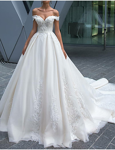 cheap Christmas Deals-A-Line Off Shoulder Chapel Train Polyester Made-To-Measure Wedding Dresses with Lace Insert by LAN TING Express