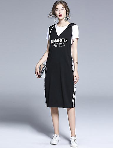 billige Todelt dress til damer-Dame Grunnleggende Polo Kjoler - Trykt mønster, Bokstaver