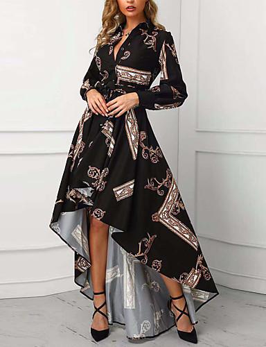 voordelige Grote maten jurken-Dames Standaard Schede Trompet / zeemeermin Jurk - Geometrisch Maxi