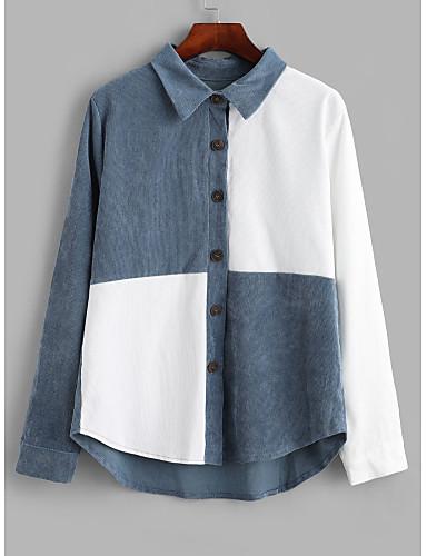 preiswerte Damen Oberteile-Damen Grafik - Street Schick Hemd Patchwork Blau & Weiß Weiß