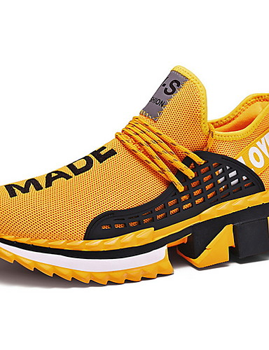 cheap 11.11 - Athletic & Outdoor Shoes Best Sale-Men's Comfort Shoes Mesh Fall & Winter Athletic Shoes Running Shoes Black / White / Yellow