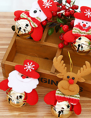 billige Julehengende dekorasjon-4stk santa anheng juletre pyntegjenstander hengende med jingle bjeller julepynt forsyninger