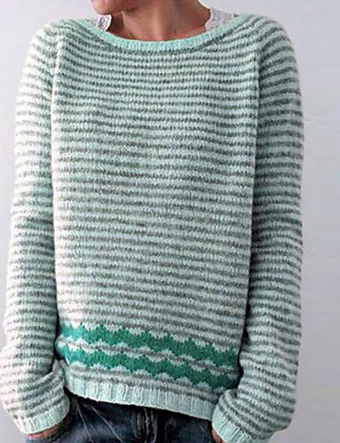 abordables Hauts pour Femmes-Femme Rayé Manches Longues Pullover Violet / Rose Claire / Bleu S / M / L