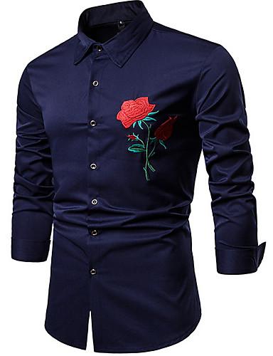voordelige Herenoverhemden-Heren Overhemd Bloemen Zwart