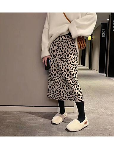 cheap Maternity Bottoms-Women's Sexy Bodycon Skirts - Leopard Knitting Black Khaki One-Size