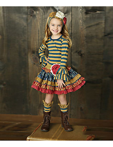 Kids Girls' Basic Striped Long Sleeve Clothing Set Rainbow