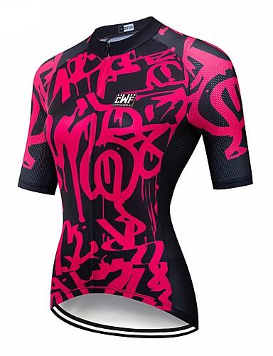 povoljno Biciklističke majice-CAWANFLY Muškarci Žene Kratkih rukava Biciklistička majica Crna / crvena Geometic Bicikl Biciklistička majica Majice Brdski biciklizam biciklom na cesti Prozračnost Quick dry Povratak džep Sportski