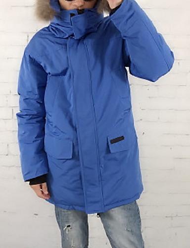 levne Pánské kabáty a parky-Pánské Jednobarevné Dlouhý kabát, Polyester Černá / Bílá / Námořnická modř US34 / UK34 / EU42 / US36 / UK36 / EU44 / US38 / UK38 / EU46
