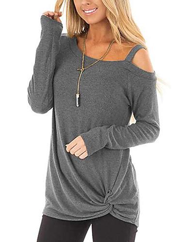 billige Skjorter til damer-tunika Dame - Ensfarget, Lapper Grunnleggende / Gatemote Svart