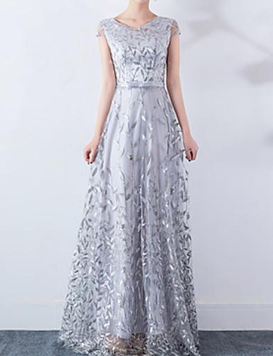 preiswerte Modische Kleidung-Damen Elegant Swing Kleid - Spitze, Solide Maxi V-Ausschnitt