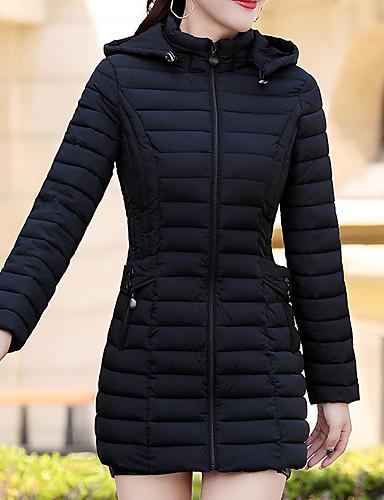 levne Dámské parky a paleta-Dámské Jednobarevné Standardní Dlouhý kabát, Polyester Černá / Fialová / Trávová zelená L / XL / XXL