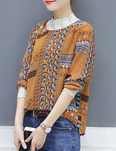 billige Dametopper-Skjorte Dame - Geometrisk Grunnleggende Hvit