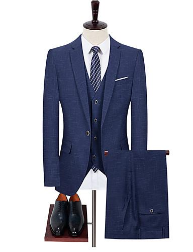 preiswerte Eng anliegende Blazer-Herrn Anzüge, Solide Hemdkragen Polyester Blau / Grau