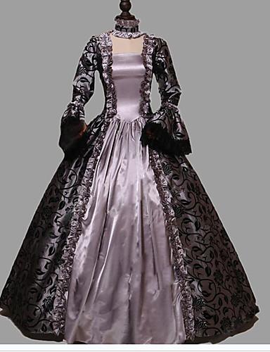 preiswerte Cosplay & Kostüme-Prinzessin Rokoko Viktorianisch Kleid Party Kostüme Kostüm Damen Baumwolle Kostüm Violett Vintage Cosplay Maskerade Party & Festivität Langarm Boden-Länge Normallänge Übergrössen
